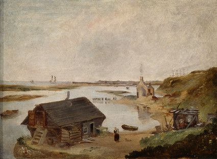 "Oil painting from the Fine Art collection. ""Aldrington Basin"" by Aaron Penley, showing a wooden house standing on the water's edge, the figure of a woman stands outside. c.1850."