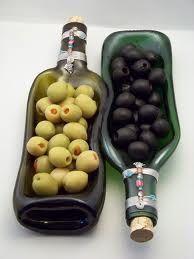 slumped wine bottles