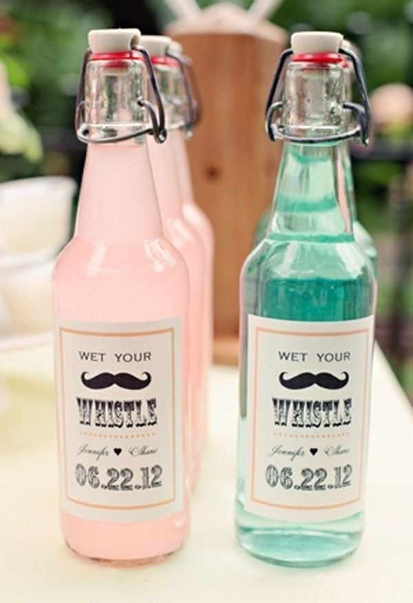 Wedding favour ideas. Individual drinks. Find more wedding favour ideas here http://raspberrywedding.com/category/raspberry-wedding/decoration/stationeryandfavours/