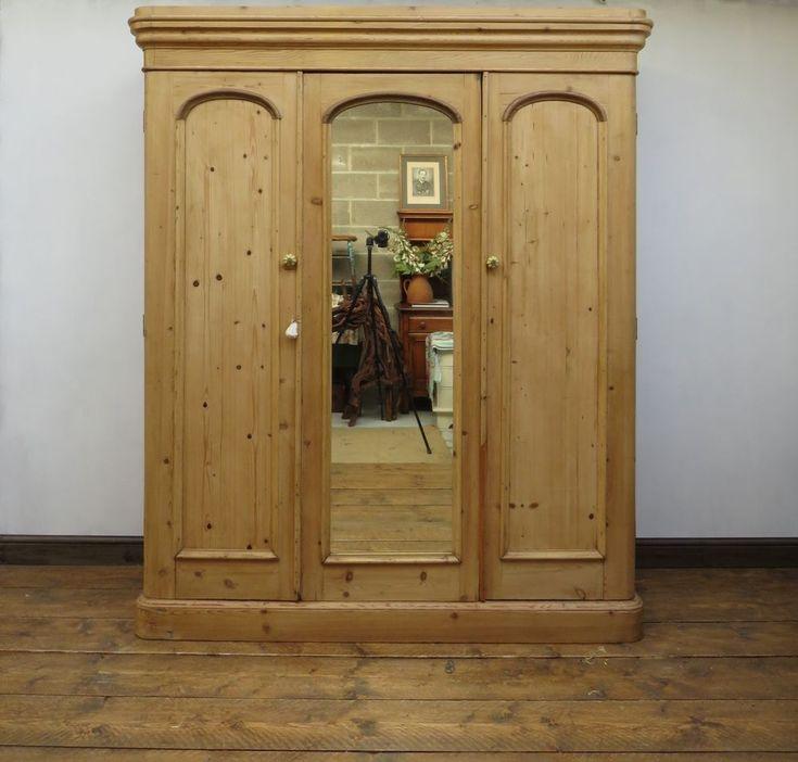 Substantial Victorian Pine Linen Press Triple Wardrobe, Rare Knockdown Wardrobe #Unbranded #Country