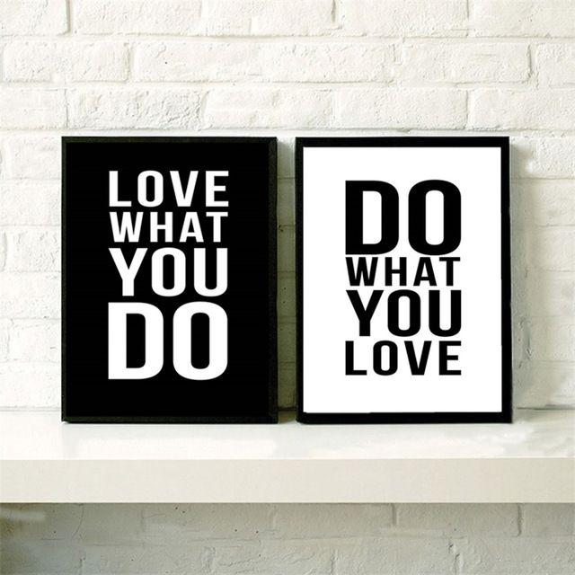 AZQSD Art Print Poster Minimalist Black White Motivational Love Quotes Vintage Picture Canvas Painting Wall Home Decor PP059