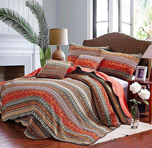 Best Striped Classical Cotton 3-Piece Patchwork Bedspread Quilt Sets Queen #deals