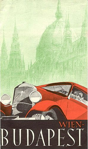 Travel brochure for the auto route Wien-Budapest (Vienna-Budapest), circa 1930. Unsigned.