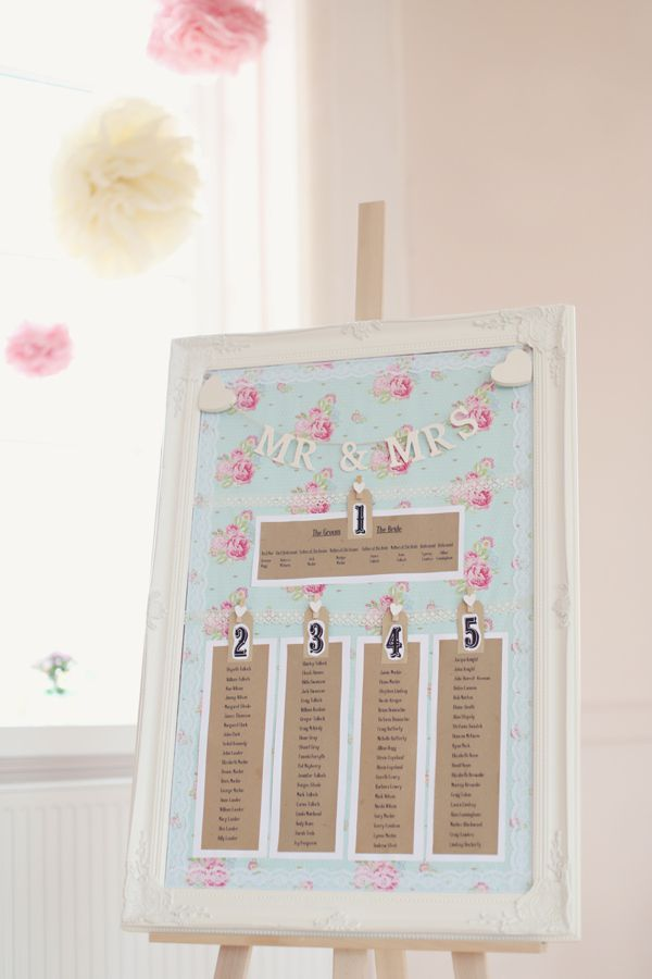Cath Kidston style table plan. Pretty pastel pink wedding. http://www.craigsandersphotography.co.uk/