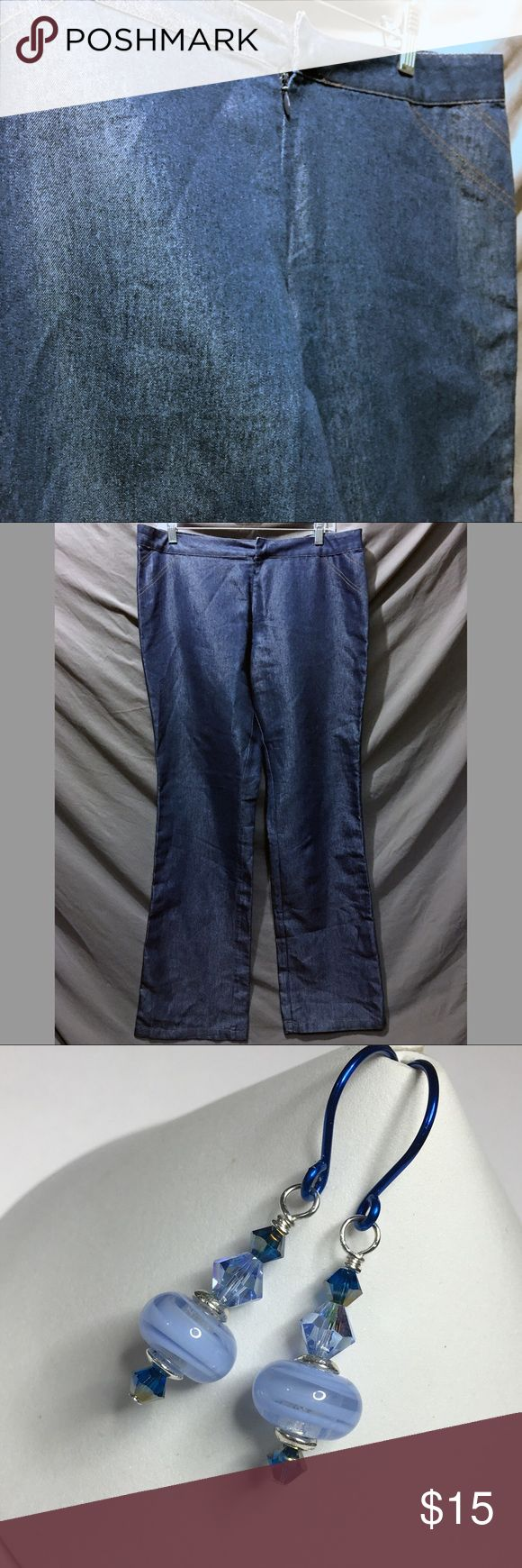 Old Navy Shiny Denim Colored Pants 14 NWOT New w/o Tags; These Old Navy pants, size 14, look like jeans, but they're lightweight and comfy. The shiny denim colored fabric is sure to turn heads. 65% cotton, 35% rayon. Includes a matching pair of my handmade earrings. No animal hair, cigarette smoke or perfume smell. Use the OFFER button to make me an offer. I'm ready to sell! Thank you! Measured flat: Across the waist 18 inches; rise 10.5 inches; inseam 33 inches; length 40 inches; leg…