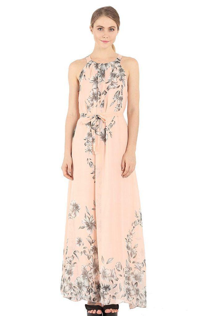 0874e6654 OMONSIM Women Valentine's Day Sleeveless Halter Neck Vintage Floral Print Maxi  Dress | Women's Dress | Dresses, Floral print maxi dress, Casual dress ...