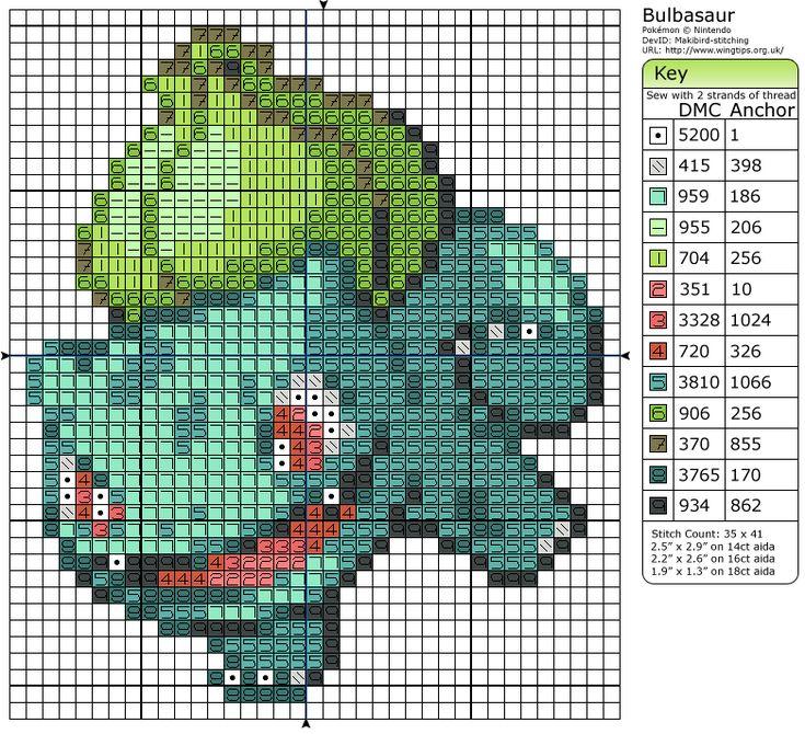 Pokémon – Bulbasaur - Cross Stitch