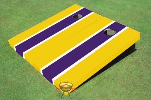 Purple and Yellow Matching Long Stripe Corn Hole Boards Cornhole Game Set -- Continue to the product at the image link.(It is Amazon affiliate link) #tagblender