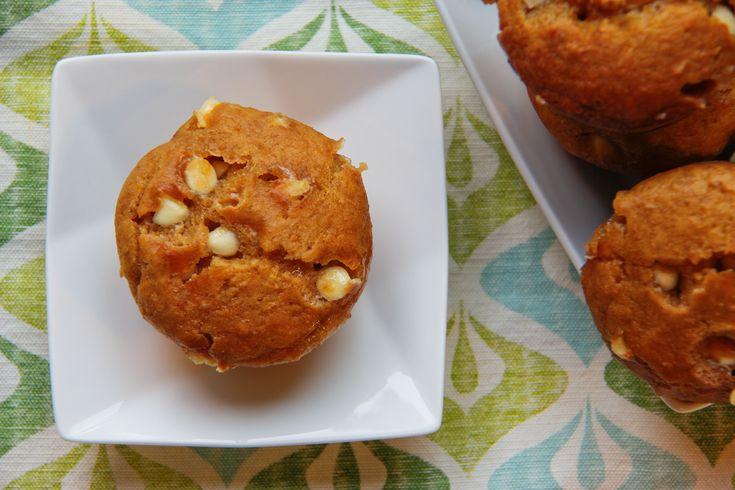 Muffins à la purée de courge, orange et chocolat blanc
