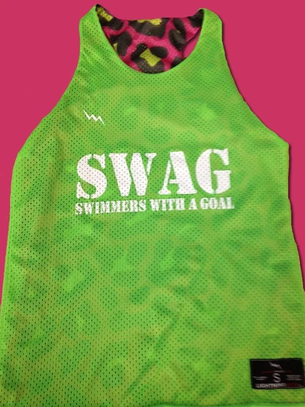 Great t-shirt for swimmers! S.W.A.G. = swimmers with a goal. Get it? #swimming #tshirt