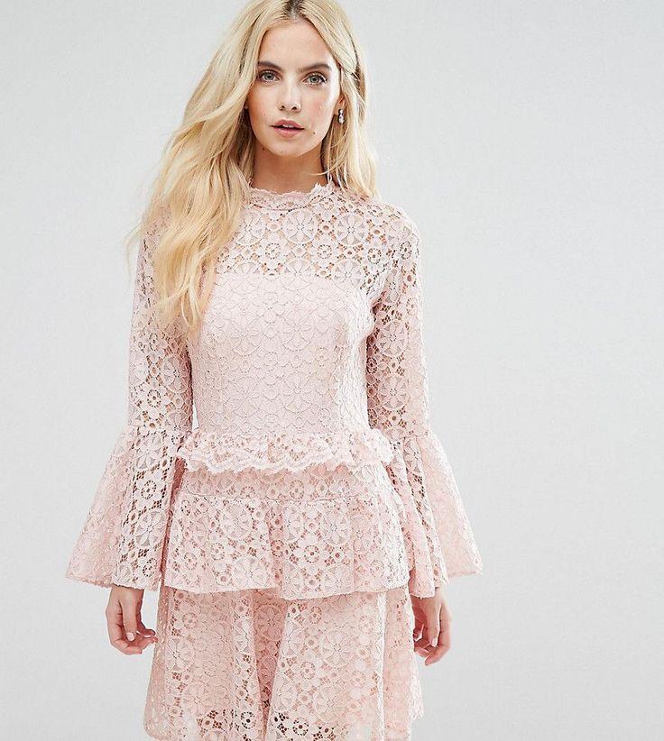 John Zack Petite Allover Cutwork Lace Mini Dress With Fluted Sleeve De