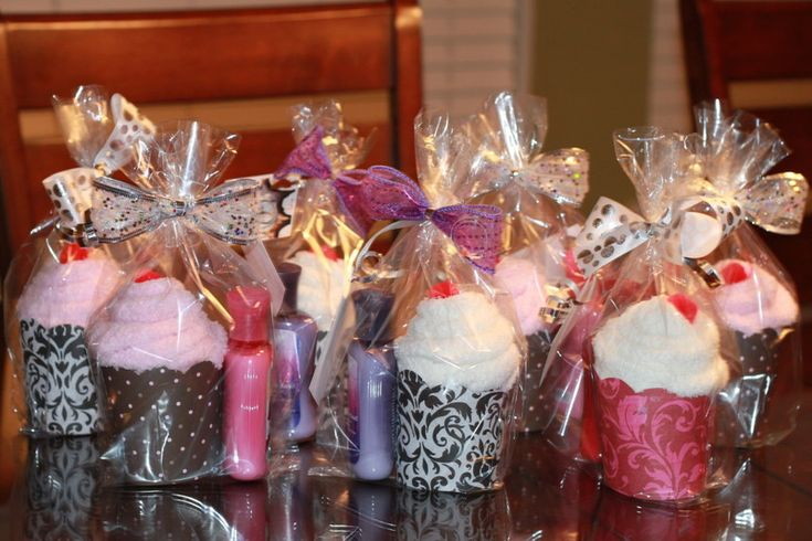 Sock cupcakes with lotions - cute idea for a slumber party!