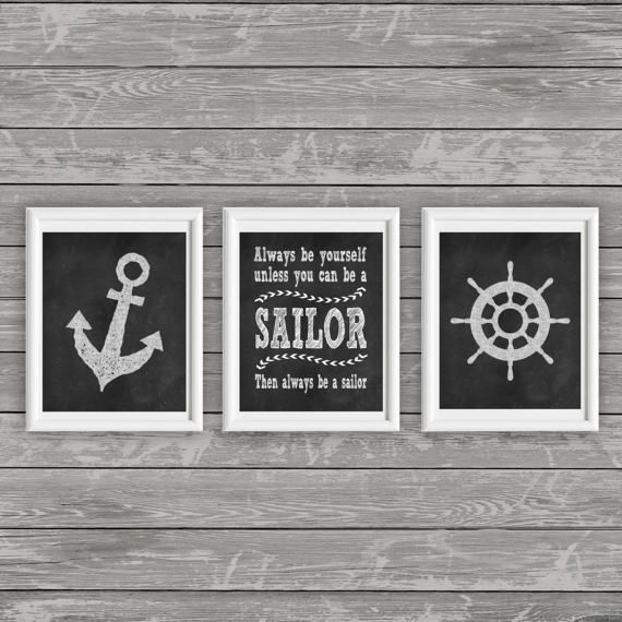 Sailor Wall art Set of 3 Printable Nautical di Twentyoneartstudio