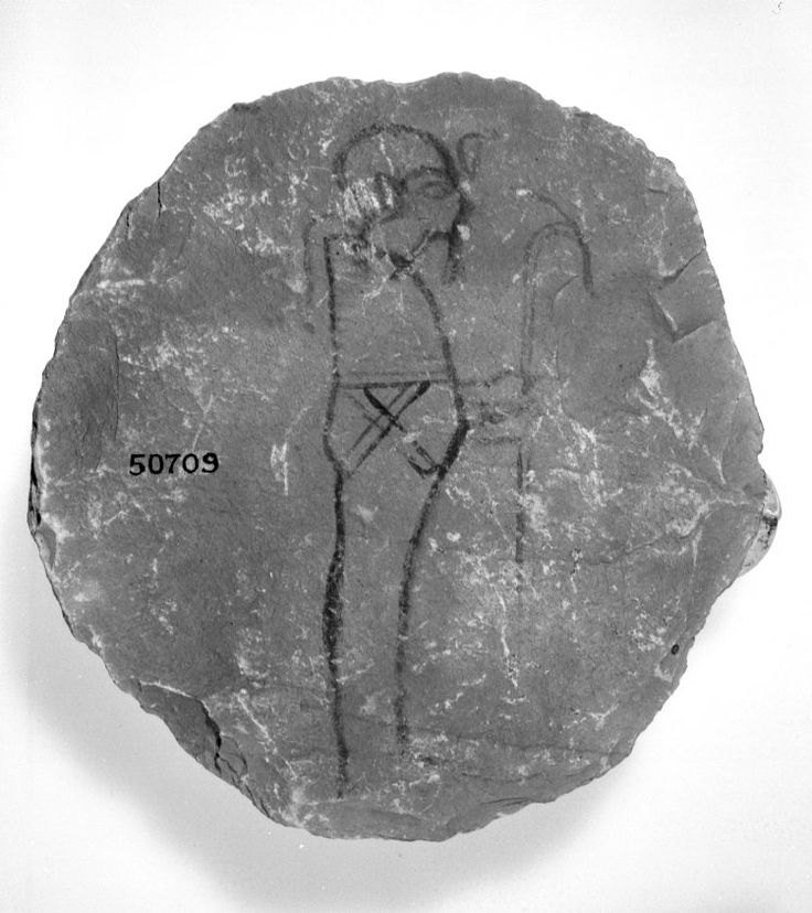 Limestone ostracon with the figure of the god Path, 20th-19th Dynasty, Thebes. British Museum, Online Collection.