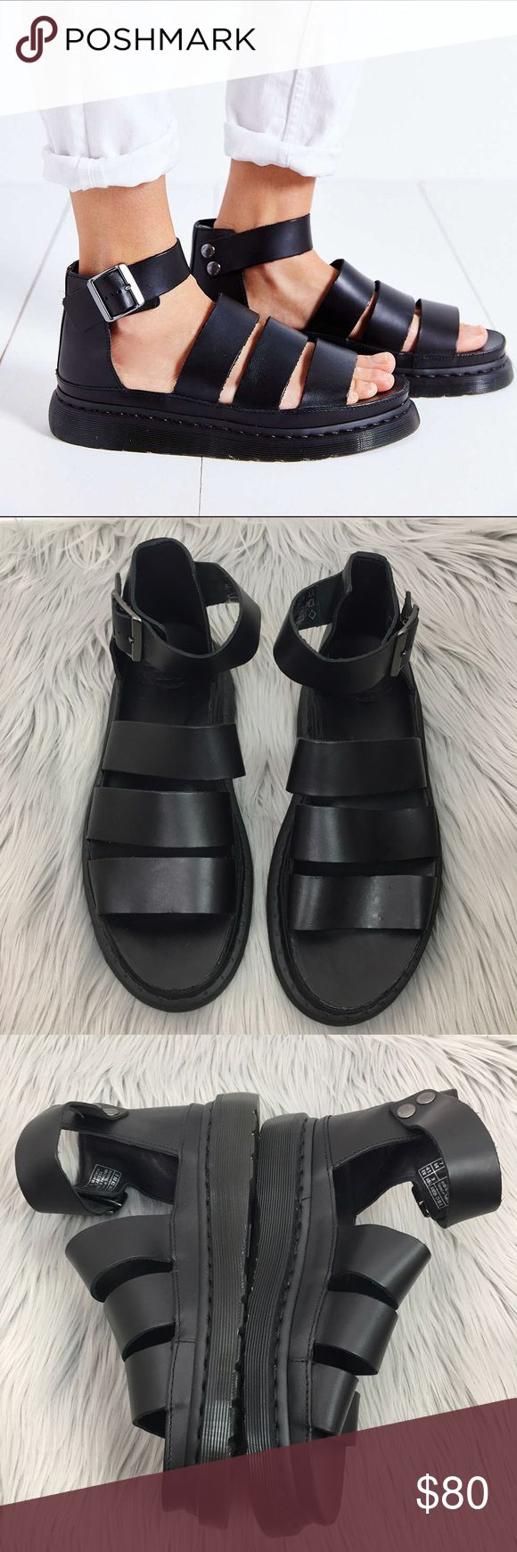 NEW Dr. Martens black leather Clarissa sandals Brand new never worn. Brand marked to prevent in store returns. This colorway was sold at urban outfitters! Dr. Martens Shoes Sandals