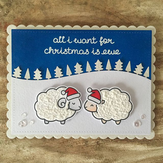Lawn fawn 'all I want for Christmas is ewe' card - Emma Chizlett