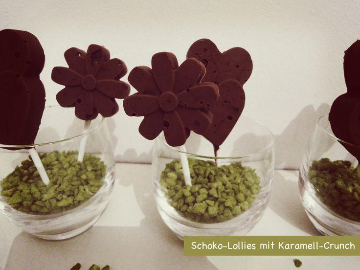 selbstgemachte Schoko-Lollies mit Karamell-Crunch