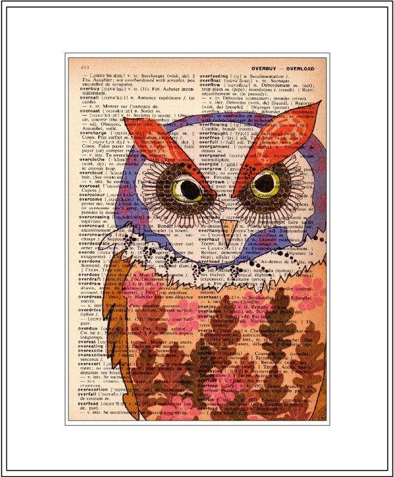 owl decor  owl art print   vintage by littlebluebirdstudios, $10.00