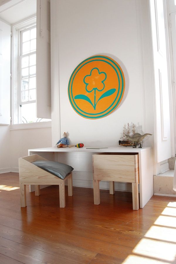 mommo design: 8 KIDS DESKS Love that the chairs go all the way under the desk.