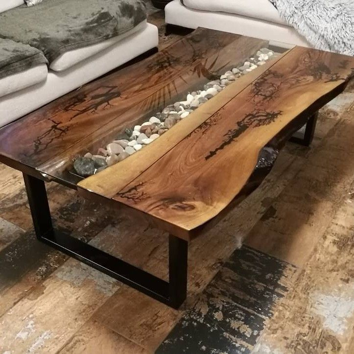 Walnut Coffee Table Unique Design Epoxy Riverwood Bogoak
