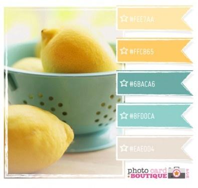 summerColors Combos, Kitchens Colors, Robin Eggs, Blue, Kitchen Colors, Colors Palettes, Colors Schemes, Master Bath, Lemon Yellow