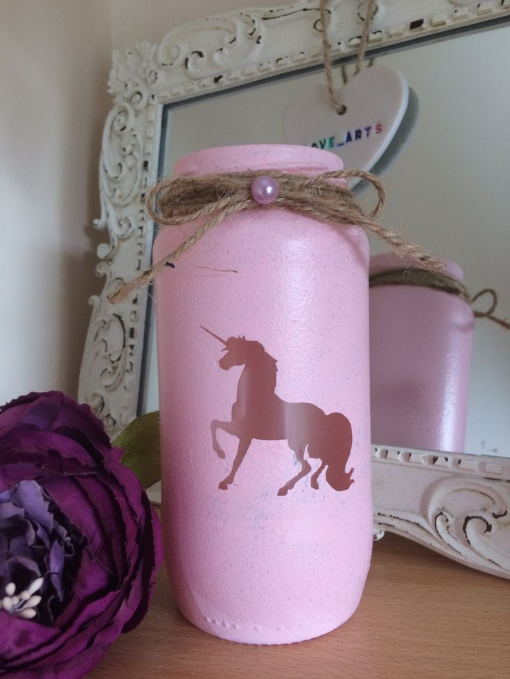 Unicorn jarlight candle fantasy pink lantern spa light candle holder pink handmade painted mermaid lights cute candle vintage love by LoveartsGifts on Etsy