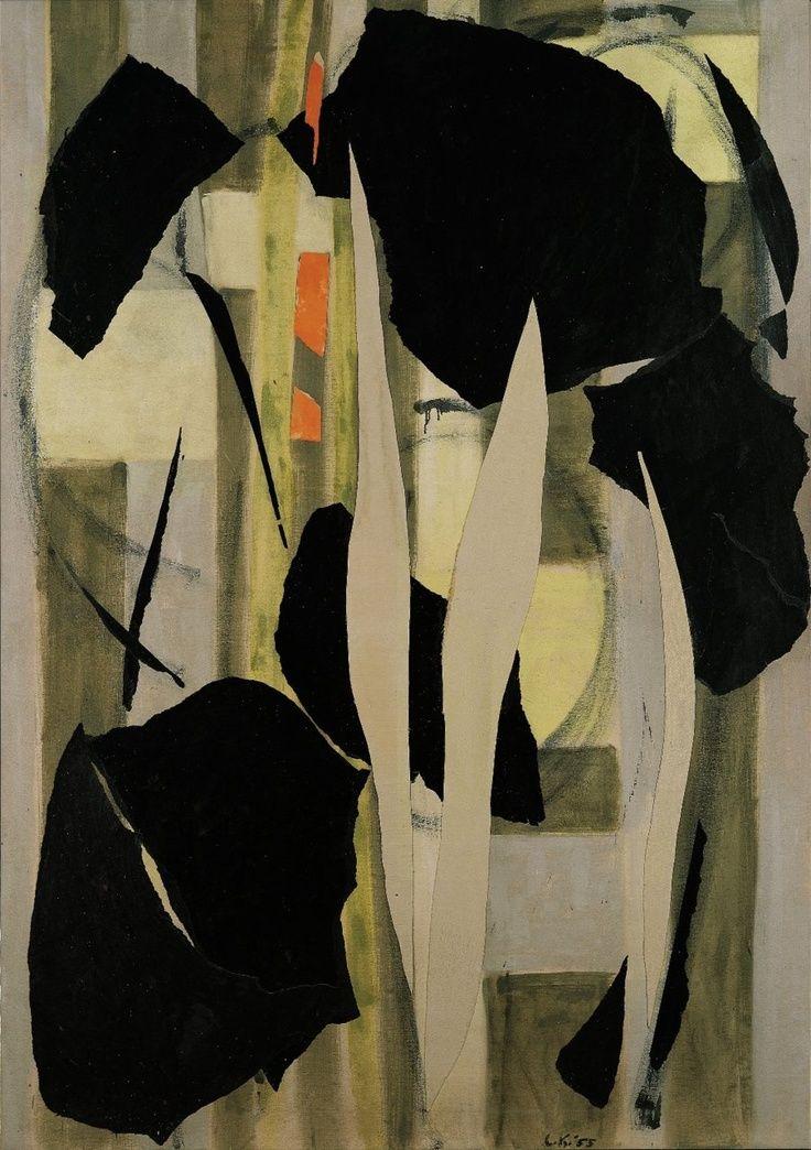 Lee Krasner (1908-1984) was een Amerikaans abstract expressioniste. Ze huwt in 1945 met Jackson Pollock in wiens schaduw ze leefde hoewel ze steeds bleef doorgaan te schilderen. Het koppel beïnvloedt elkaar en geeft commentaar op elkaars werk. Lee Krasner sneed vaak oude stukken uit haar eigen werk of uit het werk van Pollock en gebruikte deze als materiaal voor het maken van haar reeksen collages, als onderdeel van haar eigen werk.