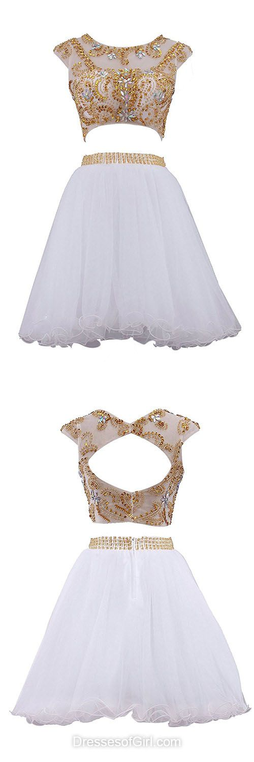 Two Piece Homecoming Dresses, Open Back Party Gowns, White Prom Dresses, Summer Girls Dresses, Cute Cocktail Dress