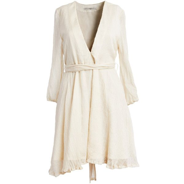 ROOPA Silk Handwoven Mini Dress ($845) ❤ liked on Polyvore featuring dresses, neutral, silk wrap dress, long sleeve wrap dress, short white dresses, plunging v neck dress and short wrap dress