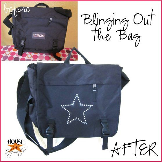 Add rhinestones to a boring bag to bling it out.  @ House of Hepworths - I so want a Silhouette Cameo.  Maybe someday I'll have enough saved for one.  For now, I will just have to wait. :)