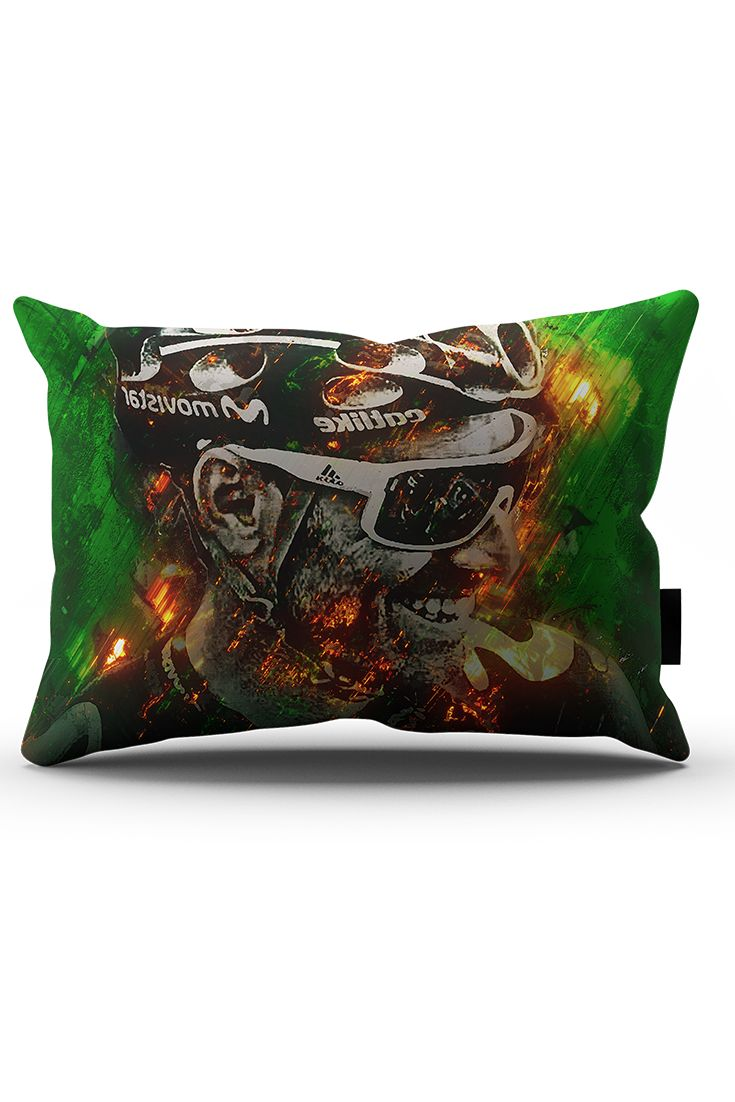 A decorative throw pillow with graphic theme of Alejandro Valverde with his personal nickname 'El Imbatido'. Prints with sharp image and colours using fury effect.