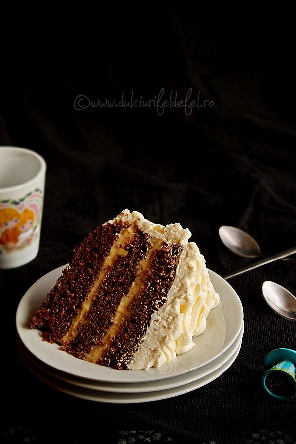 Chocolate Cake with Caramel Cream and Cream Cheese Frosting