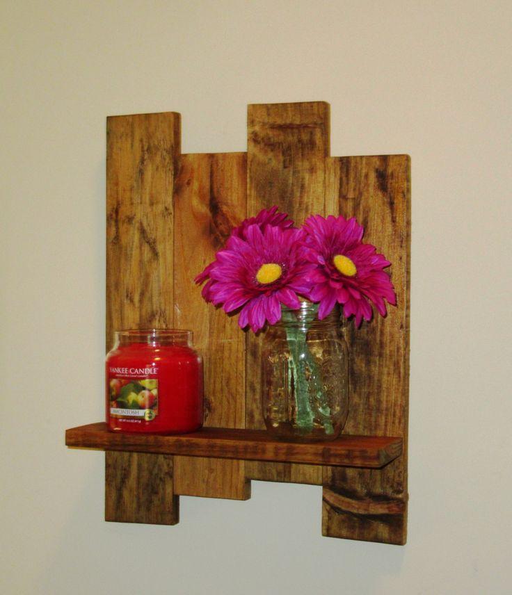 Reclaimed wood shelf, pallet wood shelf, wall shelf, Stained Wood Shelf, Candle holder by Cozyhandcrafteddecor on Etsy