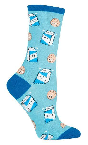 Dunk it! Dunk it good! Cookies n' Milk on a bright blue or black crew sock. Fits women's shoe size 5-10.