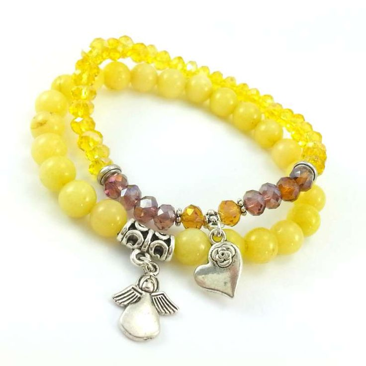 Żółte bransoletki z kamieni półszlachetnego żółtego jadeitu z aniołkiem i kryształków szklanych z serduszkiem.