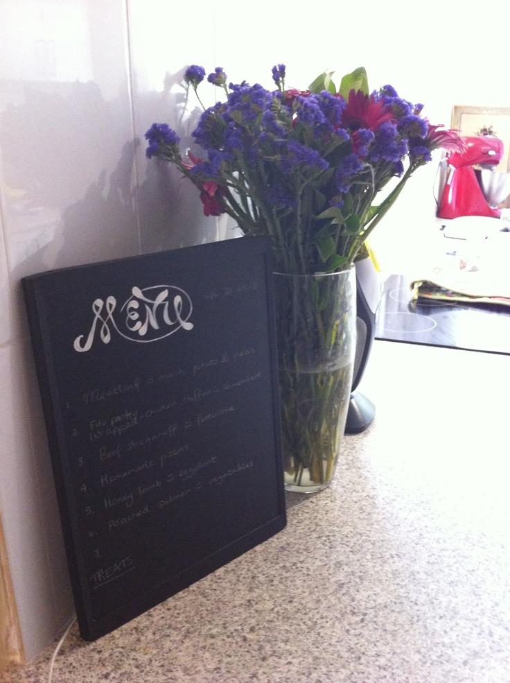 Menu board for the weeks menu planning...