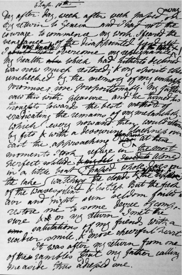 The first page of FRANKENSTEIN, in Mary Shelley's own handwriting.