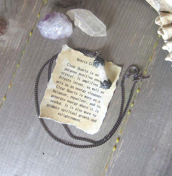 hekserij amulet kwartskristal flacon hanger door WhiteMoonWitchcraft