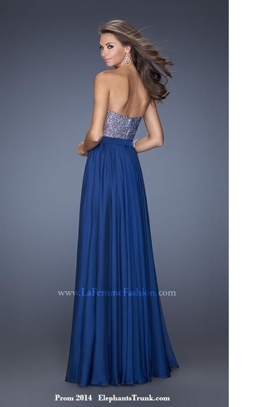 Wild and fun, this enchanting evening dress by La Femme 20041 is a regal  look for prom or a pageant. The strapless sweetheart bodice sparkles with  twinkling