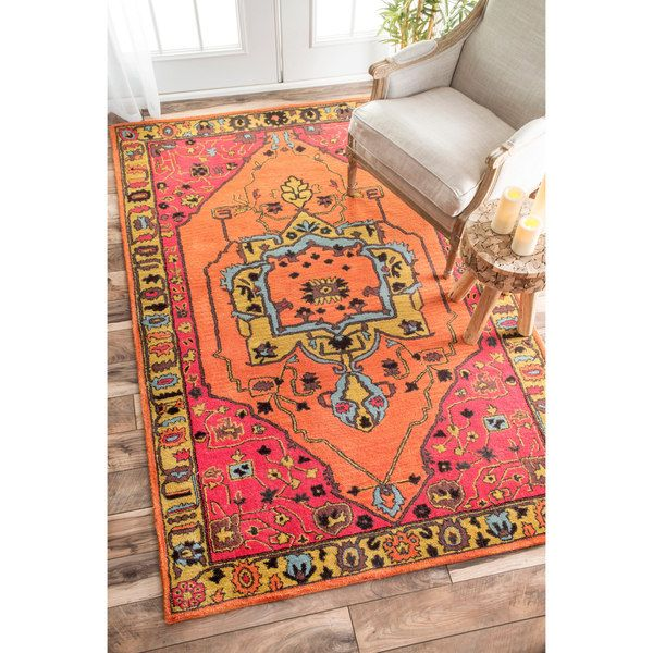 nuLOOM Overdyed Floral Border Oriental Wool Orange Rug (5' x 8') - uhm... @girlcat7 I believe this is exactly what you are looking for only bigger.