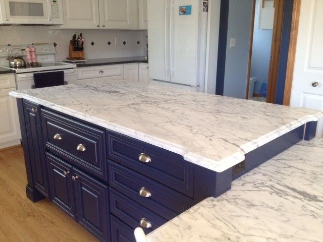 Navy Blue Kitchen with grey/white bench tops