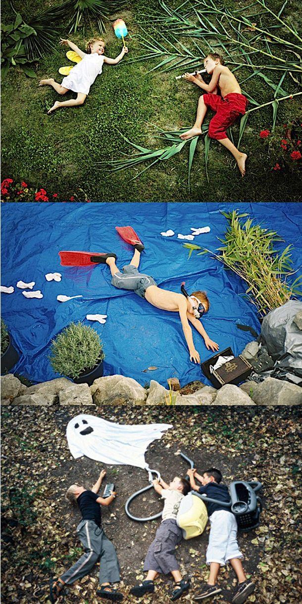 """""""S'inspirant des classiques de la littérature enfantine comme des superhéros modernes, l'allemand Jan Von Holleben photographie de façon poétique et colorée des enfants dans des scénettes « vues de dessus »."""""""