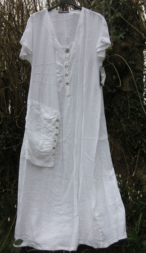 I could use up a whole lot of loose buttons on this!    .....ITALIAN LINEN MAXI DRESS BNWT 44 LAGENLOOK BOHO WHITE GREEN BLACK PINK BEIGE | eBay