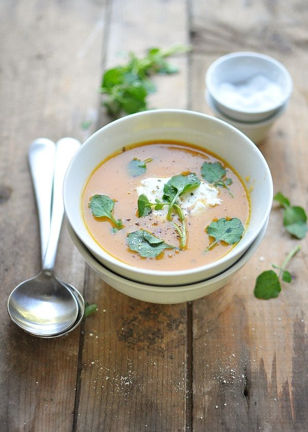 sweet potato soup with brown butter and goat cheese.