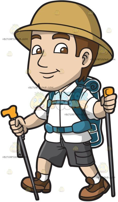 A Nice Male Explorer Hikes Up The Unknown Trail :  A man with brown hair wearing a khaki explorer hat white button up shirt with collar dark gray cargo shorts white socks brown shies dark teal camping backpack smirks while walking as he holds a couple of gray trekking poles with yellow orange handles in his hands