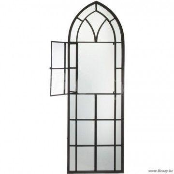 J-Line Zwarte spiegel gotische venster in zwart metaal 60