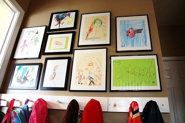 framing kids' art: Ideas, Kid Art, Galleries Wall, Mud Rooms, Art Display, Child Art, Art Wall, Kids Artworks, Artworks Display