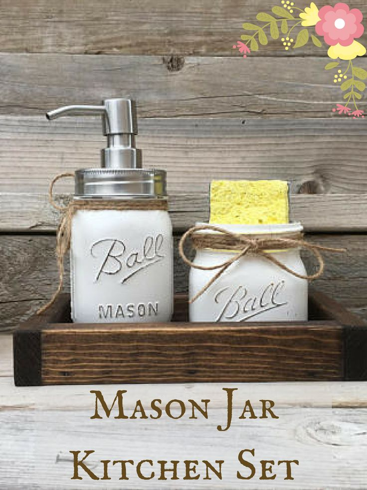This is a darling set of painted mason jars for your kitchen or bathroom decor. Kitchen Decor, Farmhouse, Mason Jar Kitchen Decor, Mason Jar Spongeholder, Mason Jar Soap Dispenser, Rustic Kitchen Decor, Kitchen Set #ad