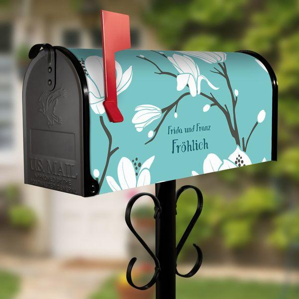 US Mailbox mit Standfuß Schwarz Motiv Magnolien von banjado via dawanda.com