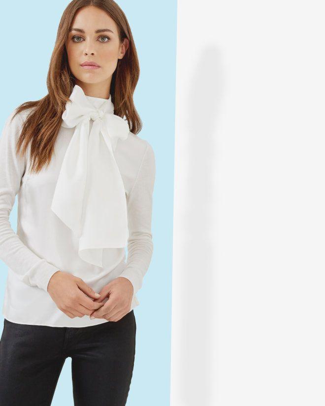 Oversized tie neck top - Cream  8e9368b06f